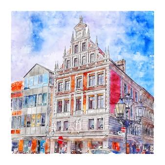 Luneburg allemagne aquarelle croquis dessinés à la main illustration