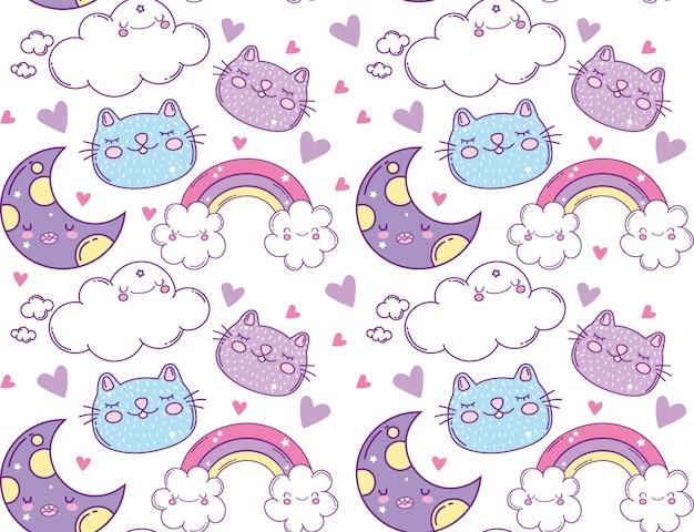 Lunes arc-en-ciel nuages et chats dessins animés, expression kawaii mignon personnage drôle et émoticône