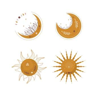 Lunes et soleils esthétiques abstraites.