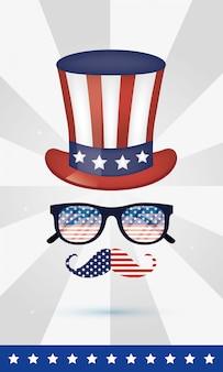 Lunettes chapeau usa et moustache du 4 juillet