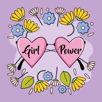 Lunettes fantaisie en forme de cœur et couronne florale