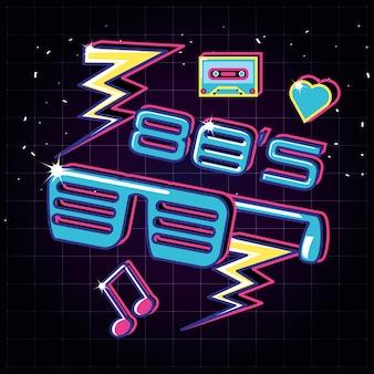 Lunettes de fête des années 80 rétro