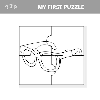 Lunettes. jeu de papier éducatif pour les enfants d'âge préscolaire. illustration vectorielle. mon premier livre de puzzle et de coloriage