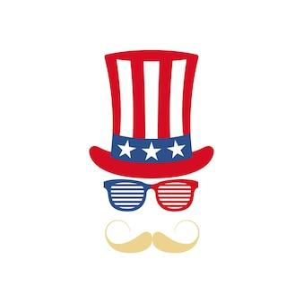 Lunettes moustache et chapeau de l'oncle sam