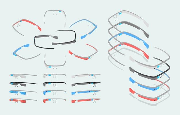Lunettes de réalité augmentée isométrique de différentes couleurs