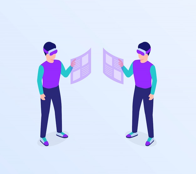 Lunettes de réalité virtuelle homme vr accéder au concept d'information de données avec style plat isométrique