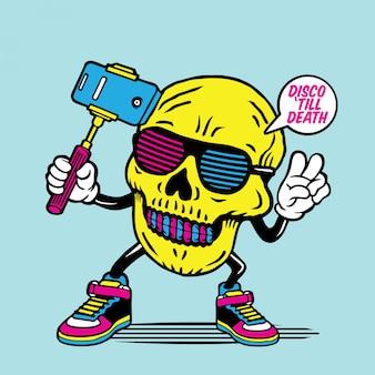 Lunettes selfie disco skull character design