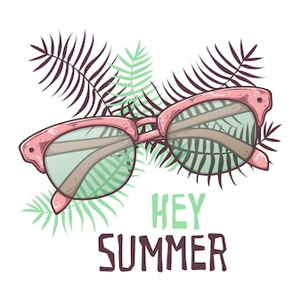 Lunettes de soleil croquis de vecteur dans le style vintage. lettrage: hé été.
