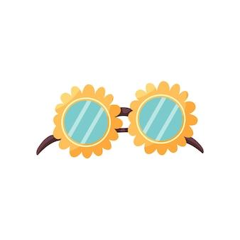 Lunettes De Soleil Fleur Vecteur Premium