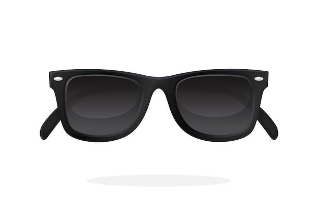 Lunettes de soleil modernes avec montures en plastique noir et verres noirs illustration vectorielle