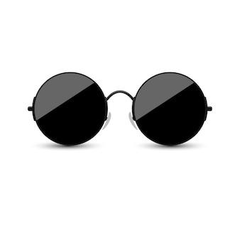 Lunettes de soleil noires avec verre foncé sur fond blanc.