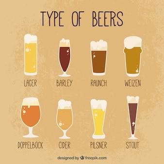 Lunettes vintages avec différentes bières