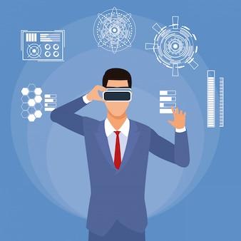 Lunettes virtuelles homme d'affaires