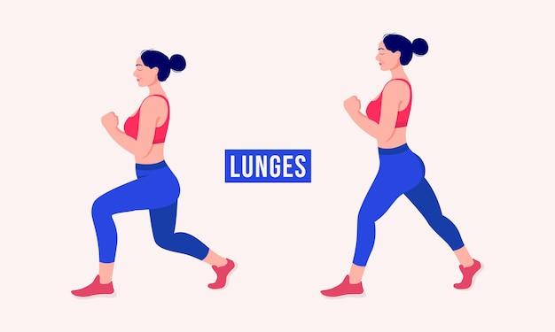 Lunges exercice femme entraînement fitness aérobie et exercices