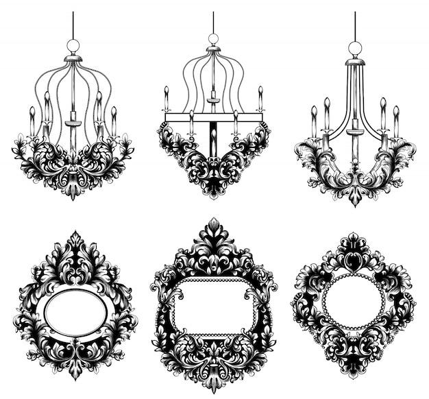 Lustres baroques et collection de cadres ronds miroir