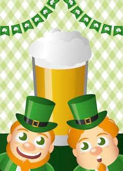 Lutins verts avec de la bière, bonne fête de la saint patrick