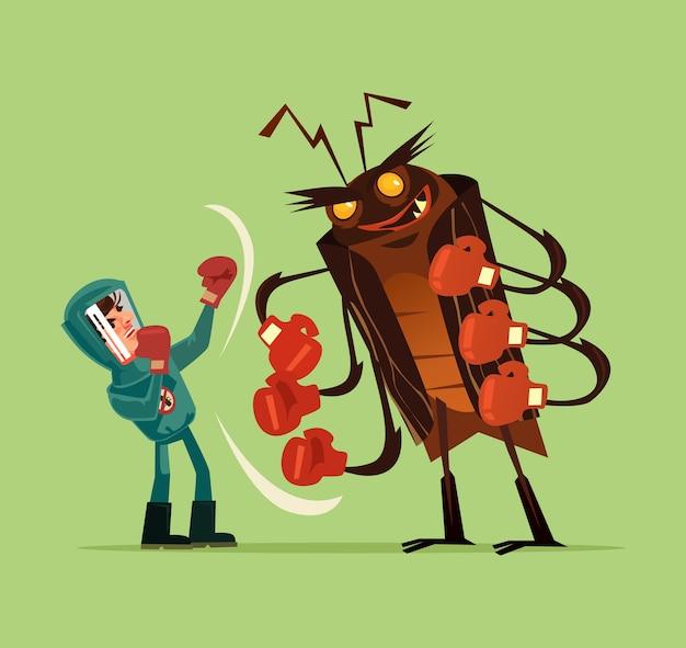 Lutte contre les insectes ravageurs isolé sur vert