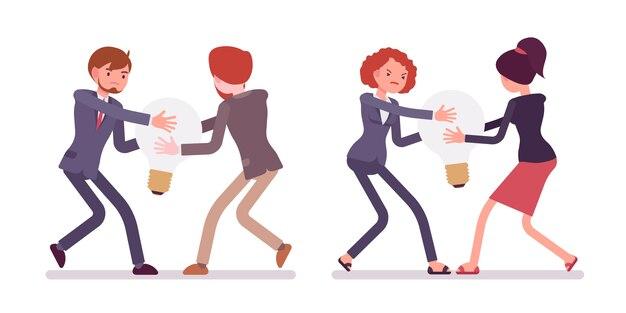 Lutte entre hommes d'affaires et femmes pour une lampe, idée