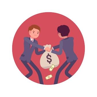 Lutte entre hommes d'affaires pour un sac d'argent