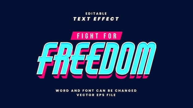 Lutte pour l'effet de texte de la liberté