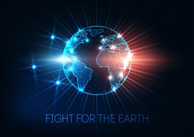 Lutte pour la terre, changement climatique, concept de réchauffement de la planète carte du monde globe.