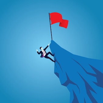 Lutte ou travail acharné dans le concept d'entreprise. hommes d'affaires escaladant la montagne pour réussir. travailler dur pour être en position de tête