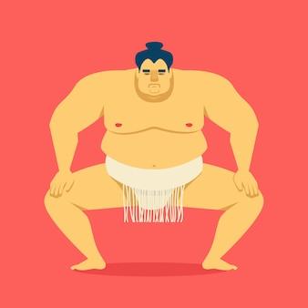 Lutteur de sumo. illustration de dessin animé de vecteur de mignon grand homme asiatique.