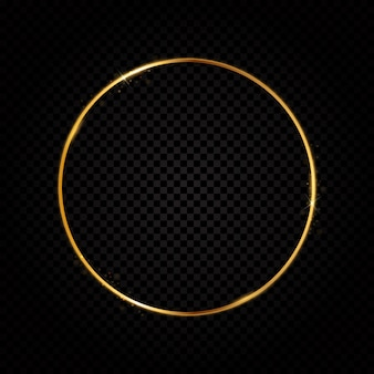 Luxe abstrait cadre doré brillant sur fond transparent.