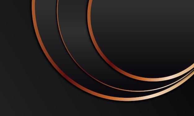Luxe abstrait avec une forme arrondie noire et un fond de texture de lignes dorées. illustration vectorielle.