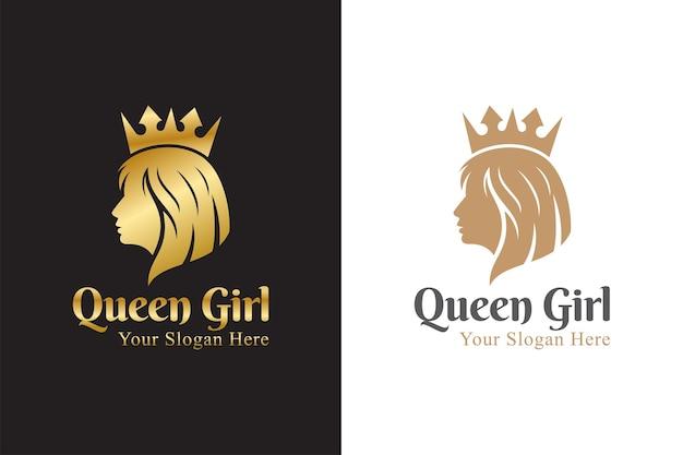 Luxe belle reine, femme, visage, salon, modèle de logo femme coiffure dorée