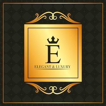 Luxe et élégant e lettre or bannière swirl décoration