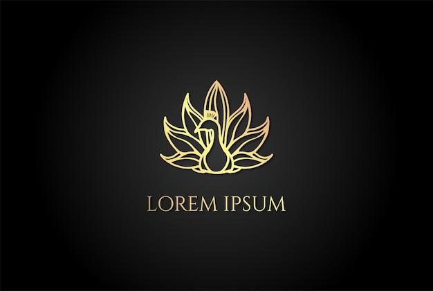 Luxe élégant golden swan peacock logo design vector
