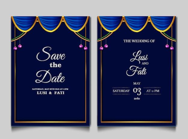 Luxe enregistrer le jeu de cartes d'invitation de mariage date
