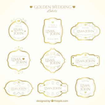Luxe étiquettes de mariage d'or