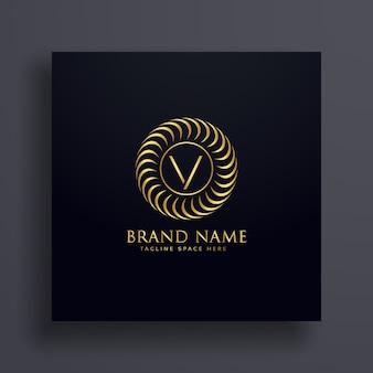 Luxe lettre v logo concept design en couleur dorée