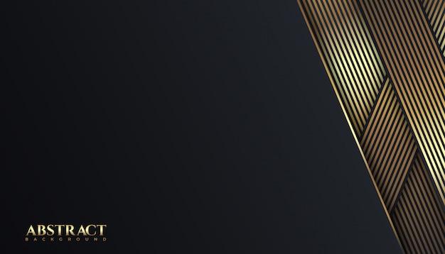Luxe lignes sombres et dorées façonnent la couleur abstrait modèle de conception de fond. élégant