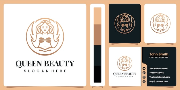 Luxe de logo de beauté reine avec modèle de carte de visite