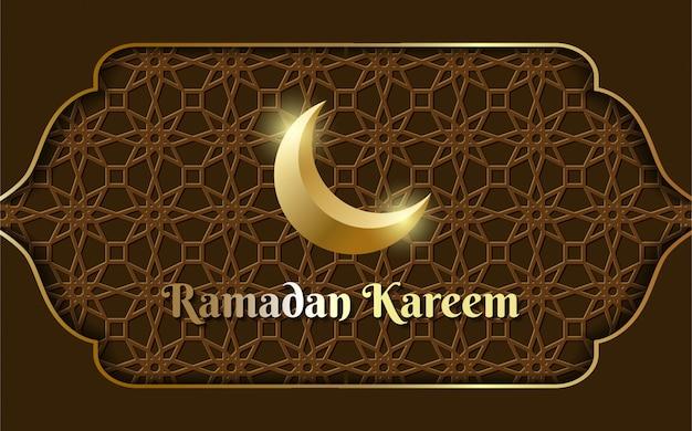 Luxe ramadan kareem marron avec lune.
