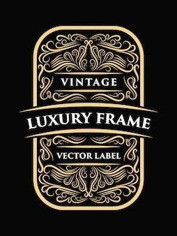 Luxe Vintage Décoratif Calligraphie Cadre Conception Occidental étiquette Typographie Vecteur Premium