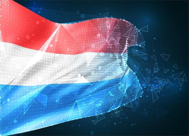 Luxembourg, drapeau vectoriel, objet 3d abstrait virtuel à partir de polygones triangulaires sur fond bleu