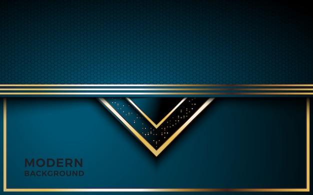 Luxueux fond bleu foncé avec une combinaison de lignes dorées.