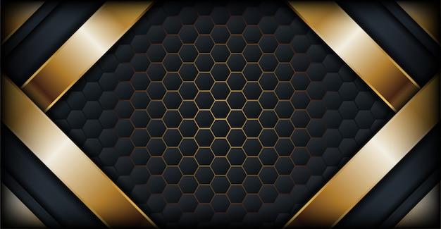 Luxueux fond hexagonal abstrait avec ligne or