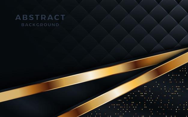 Luxueux fond noir de superposition de couches avec une ligne et des points dorés.