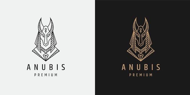 Luxueux modèle de conception d'icône logo ligne mono anubis