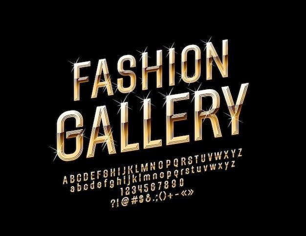 Luxury sign fashion gallery police brillante dorée avec des étoiles