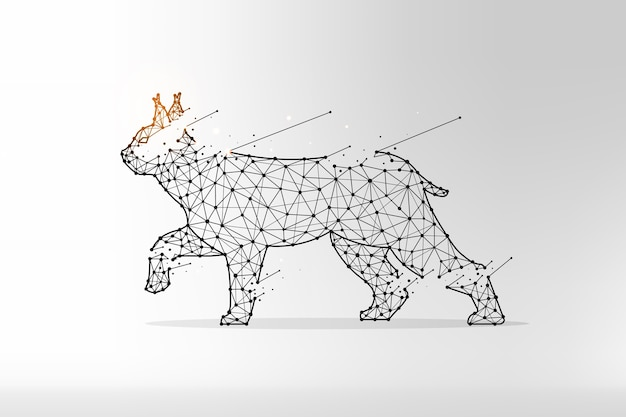 Lynx dans un style polygonal. chat sauvage fait de lignes et de points.