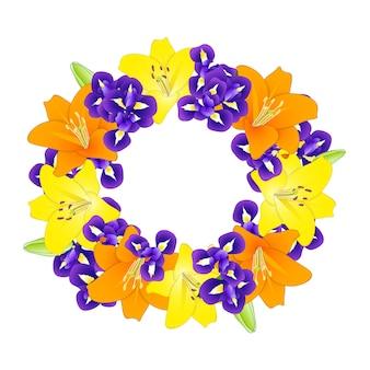 Lys orange jaune et couronne de fleurs d'iris bleu