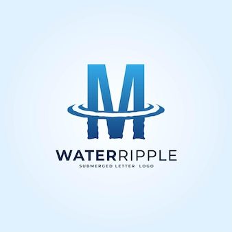 M bleu dégradé lettre eau ondulation splash vague logo dynamique icône vecteur illustration