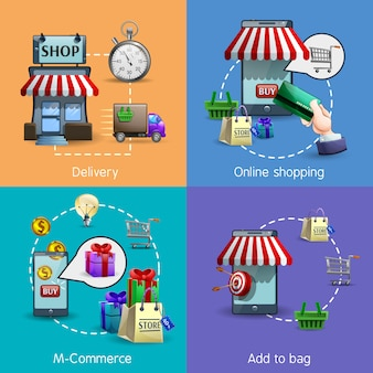 M-commerce icons set