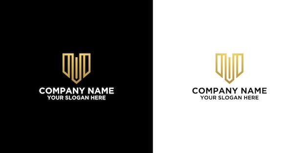 M initial dans le modèle de conception de logo de porte ou immobilier vecteur premium